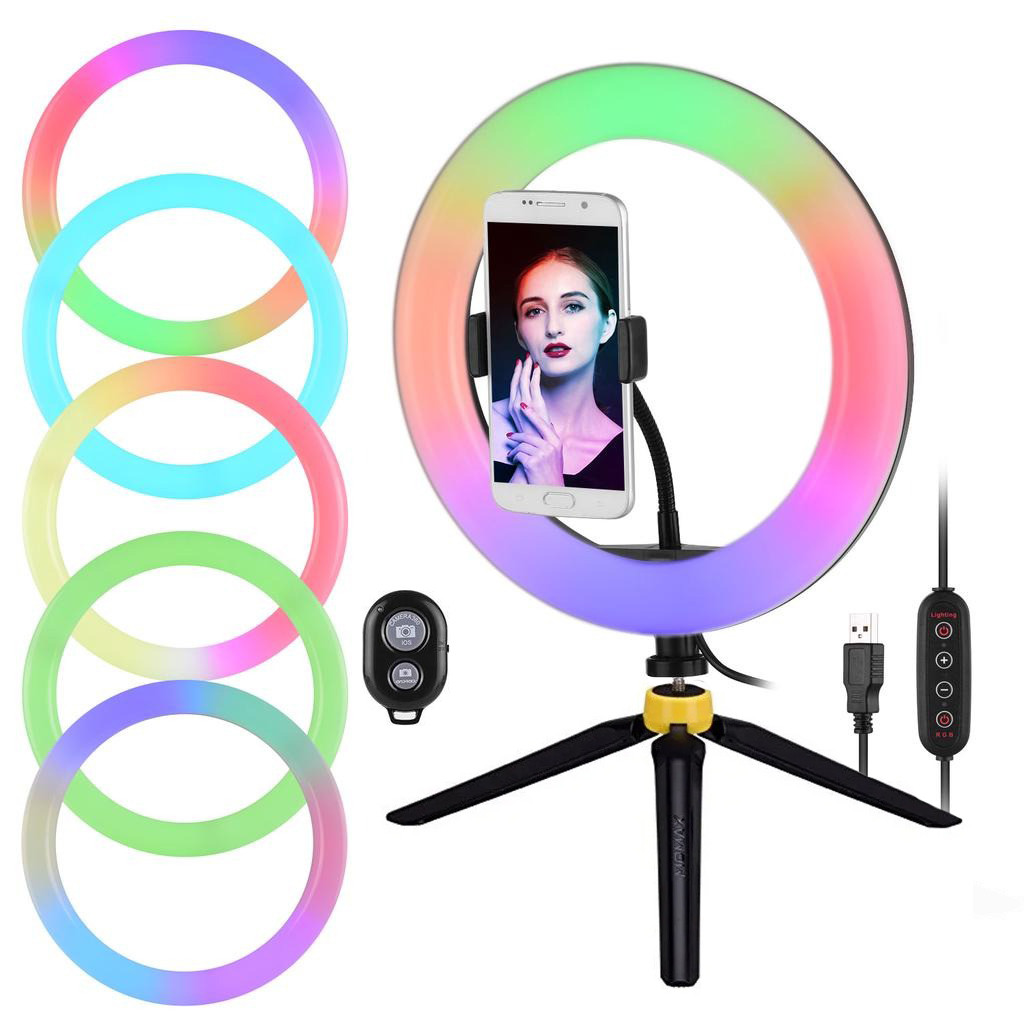 Кольцевая лампа RGB 33см + пластиковый штатив  + блютуз пульт
