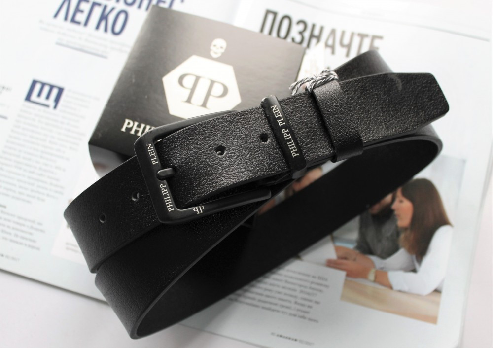 Мужской ремень с черной пряжкой Philipp Plein black