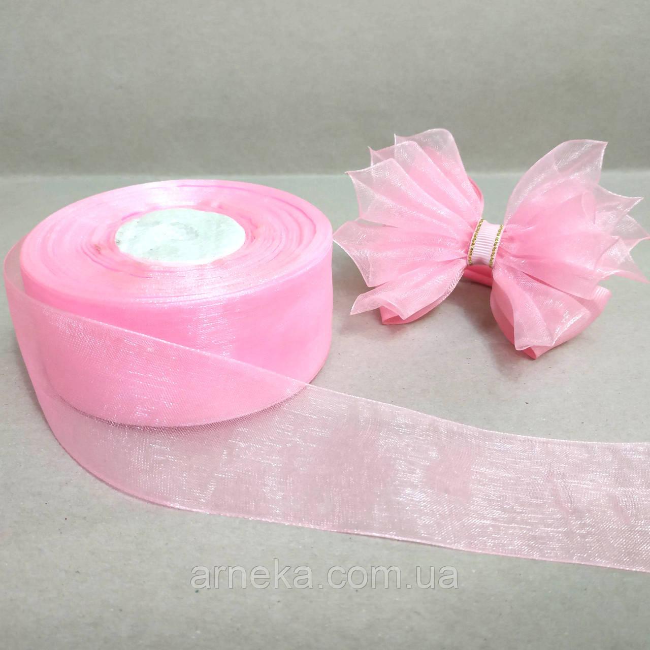 Органза 4 см розовая