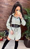 Модное женское молодежное платье рубашка Селин 42/48 мятный