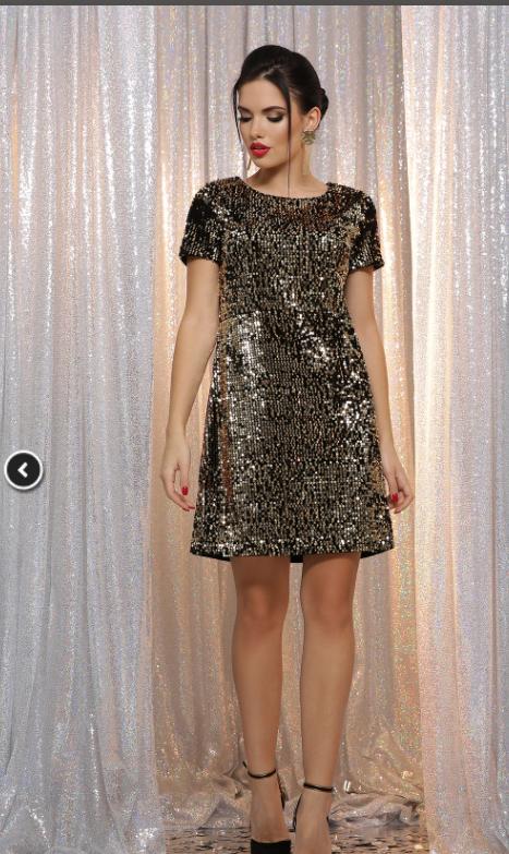 Роскошное платье мини в паетку