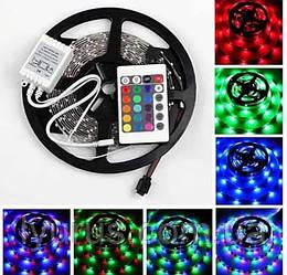 Светодиодная лента SMD 2835 LED RGB 5м с пультом и блоком питания