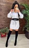 Модное женское молодежное платье рубашка Селин 42/48 белый