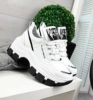 Модные кроссовки женские из натуральной кожи на высокой подошве удобные белые 37 размера Alex Benz 2053 2020
