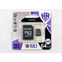 Micro SDHC (UHS-1) карта памяти HI-RALI 64GB class10(с адаптером)