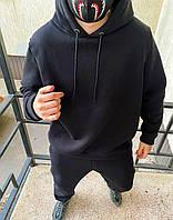 Зимний мужской спортивный костюм с капюшоном чёрный на флисе однотонный оверсайз костюм мужской черный широкий