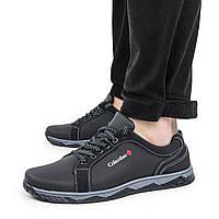 Черные мужские кроссовки из кожзама стильные легкие демисезонные под джинсы Kluchkovskyy