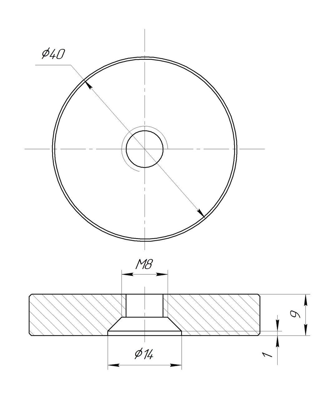 ODF-06-25-02-L10 Дистанция 10 мм для коннектора диаметром 40 мм и с резьбой М8, полированный