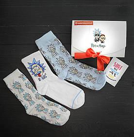 Подарочный набор мужской носки 3 шт Rick Einstein,Рик и Морти Белый, Голубой Crazy Llama's