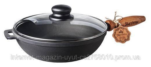 """Сковорода-сотейник чавунна """"Наша Майстерня"""" Ø26см зі скляною кришкою"""