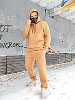Бежевый зимний спортивный костюм мужской на флисе тёплый мужской спортивный костюм с капюшоном oversize беж
