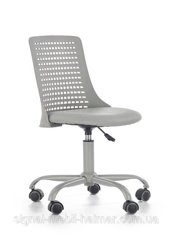 Кресло компьютерное PURE серое из экокожи (Halmar)