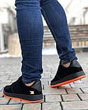 Мужские Кроссовки Форс Замш Черно-оранжевый, фото 3