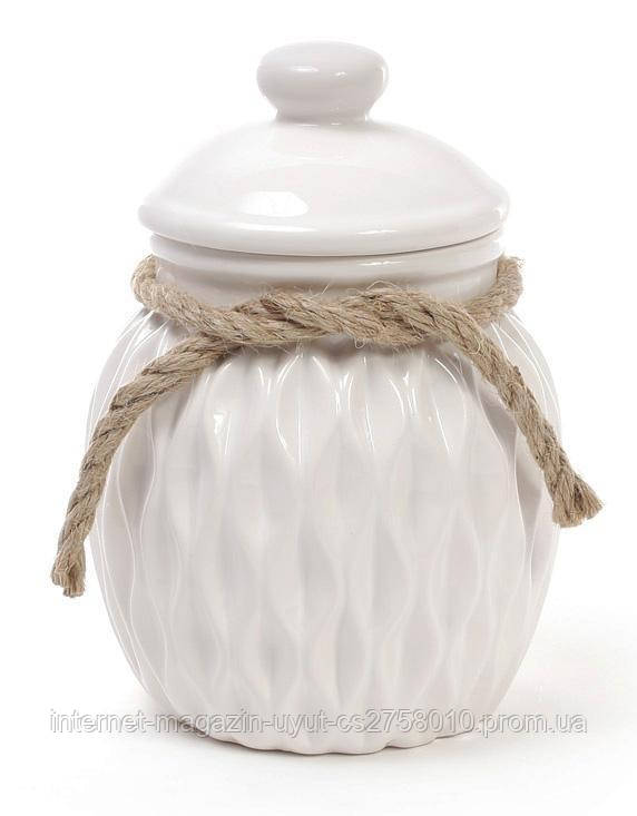 Банка керамическая Stone Flower для сыпучих продуктов Ø12.5х17.5см, белая