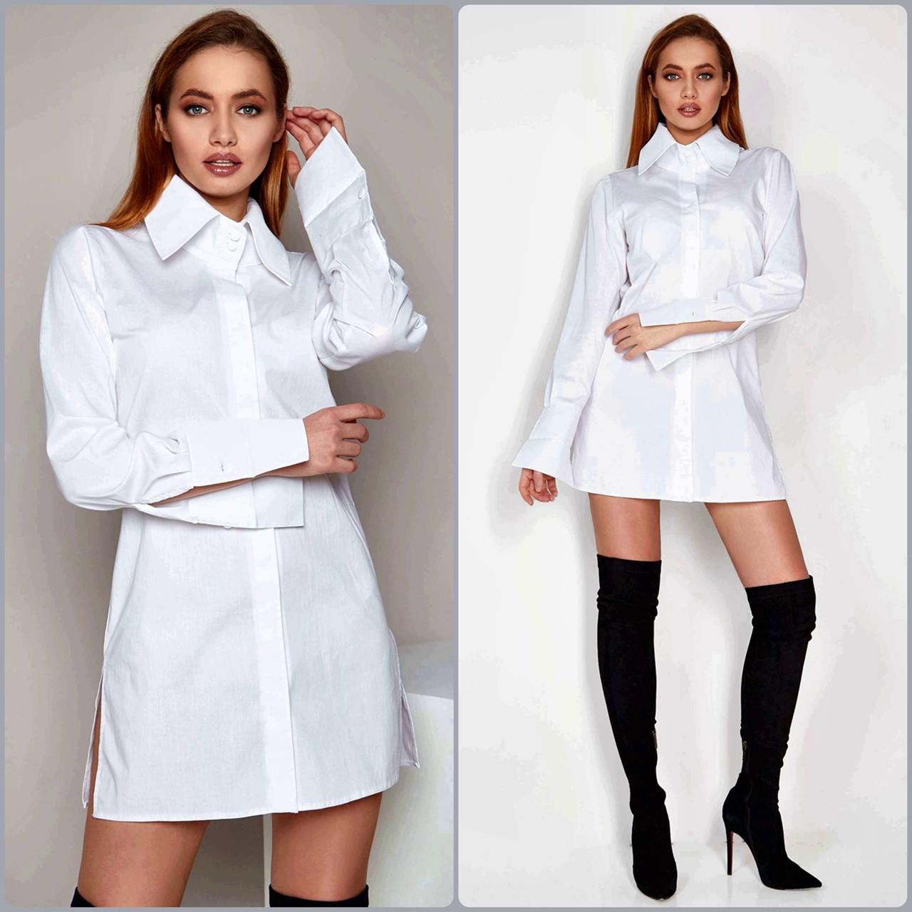 """Рубашка женская Jadone Fashion """"Нида"""" оригинального кроя (белый, р.S-XL)"""