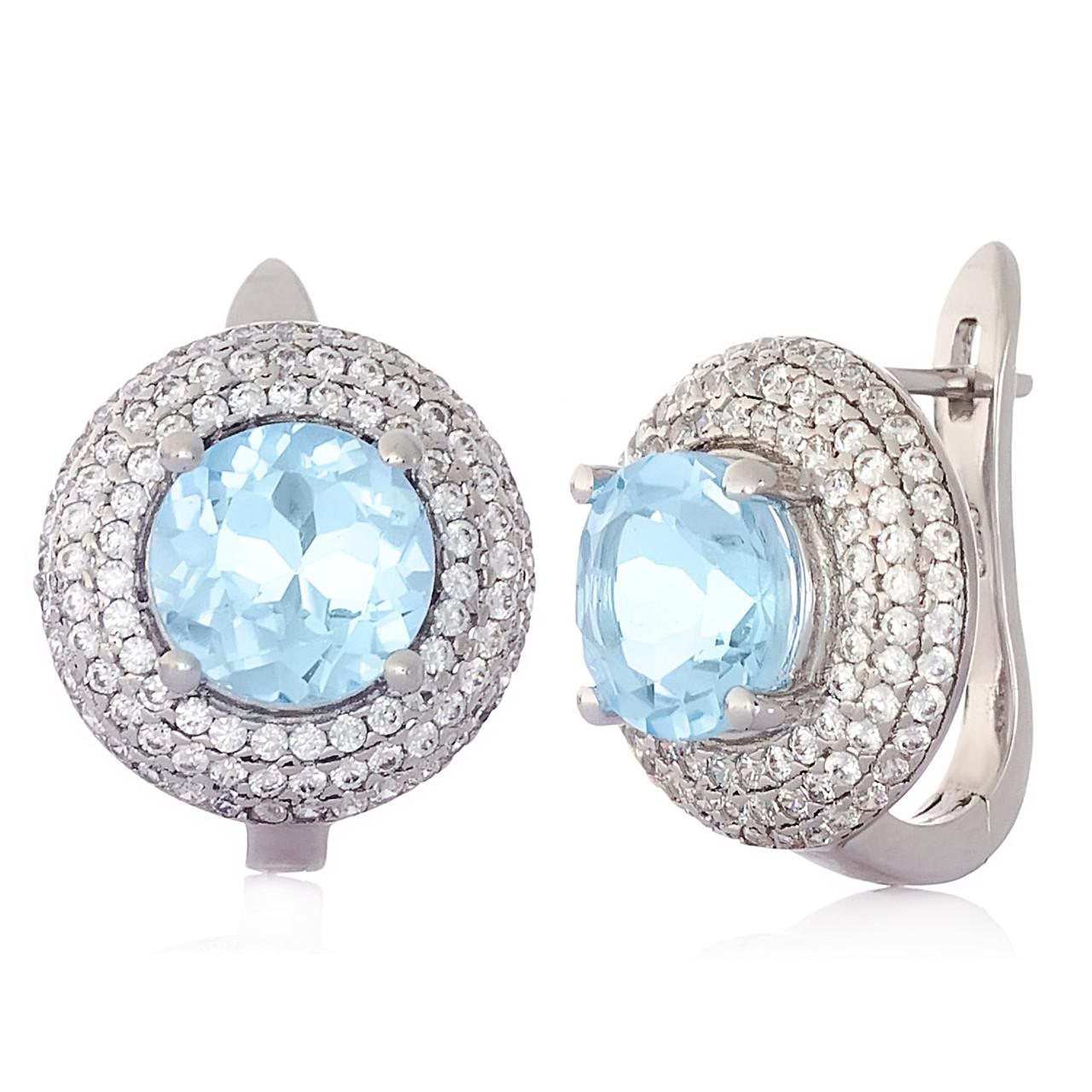 Срібні сережки з топазом Sky blue