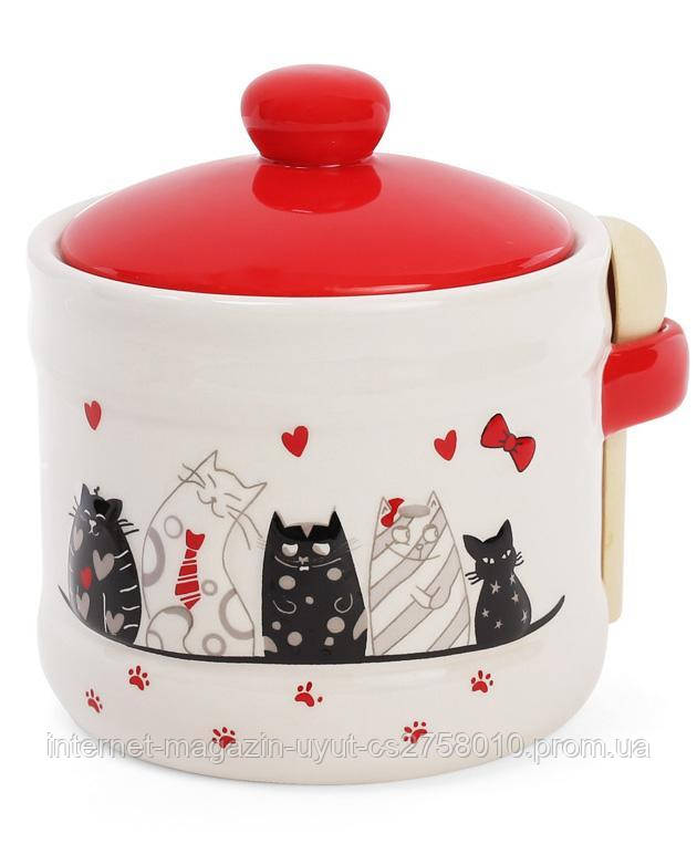 """Банка керамическая """"I Love My Cat"""" 500мл с деревянной ложкой для сыпучих продуктов или меда"""