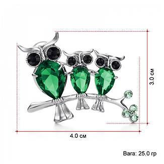 Стильна жіноча брошка три сови на гілочки зелені камені (цирконій), фото 2