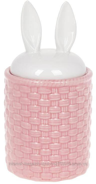 """Банка для продуктов """"Зайкины ушки"""" 950мл керамика, розовый с белым"""