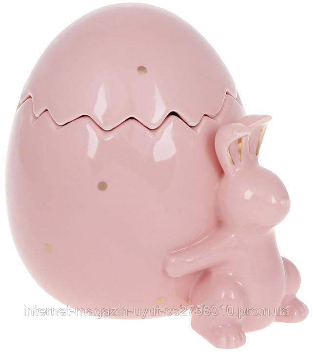 """Банка для продуктов """"Кролик с яйцом"""" 860мл керамика, розовая"""