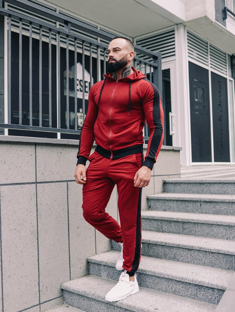 Спортивний костюм чоловічий з капюшоном Змійка, спортивна кофта та штани, турецьке люкс якість, колір червоний