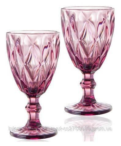 Набір 6 бокалів для вина Elodia Межі 260мл, рожеве скло