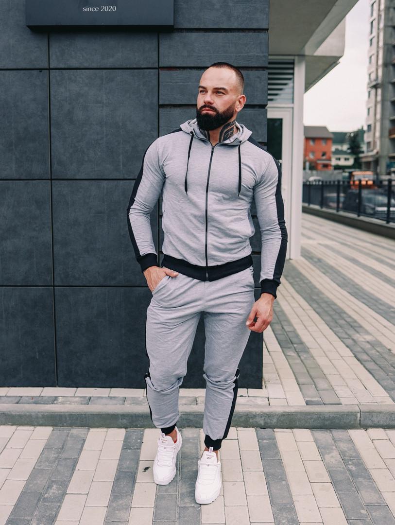Спортивный костюм мужской с капюшоном Змейка, спортивная кофта и штаны, турецкое люкс качество, цвет серый