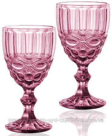 Набор 6 бокалов для вина Elodia Винтаж 340мл, розовое стекло