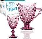 """Набір для напоїв Elodia """"Грані"""" 6 фужерів 320мл і глечик 1.1 л, рожеве скло, фото 2"""