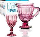 """Набор для напитков Elodia """"Винтаж"""" 6 фужеров 340мл и кувшин 1.15л, розовое стекло, фото 2"""
