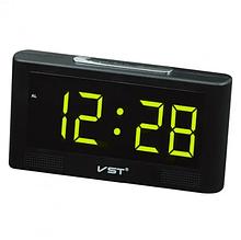 Настольные часы  VST 732Y с зелёной подсветкой