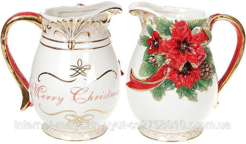 Кувшин «Merry Christmas» 2л, керамика с объемным рисунком