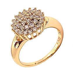 Кольцо Xuping из медицинского золота, белые фианиты, позолота 18K, 12012
