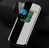 USB электро зажигалка cпиральная сенсорная электрическая с отпечатком пальца Lighter импульсная запальничка, фото 2