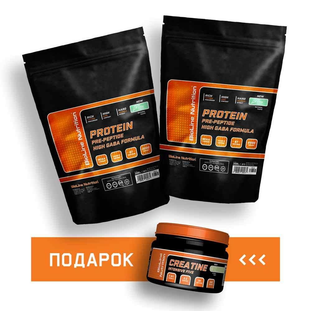 Набор массы: 4 кг Протеин + Креатин бцаа аминокислоты BioLine Nutrition   60 дней