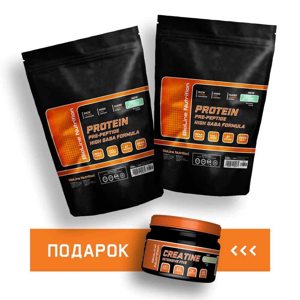 Комплект: 4 кг Протеин + Креатин сывороточный белок BioLine Nutrition | 60 дней