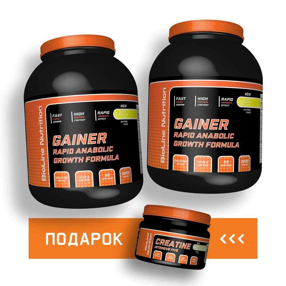 🎁Подарок: 6.0 кг Гейнер + Креатин высокоуглеводный BioLine Nutrition | 60 дней
