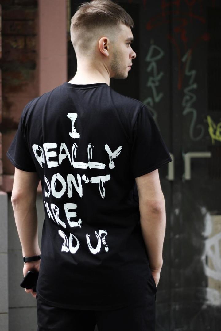 Мужская черная повседневная однотонная футболка
