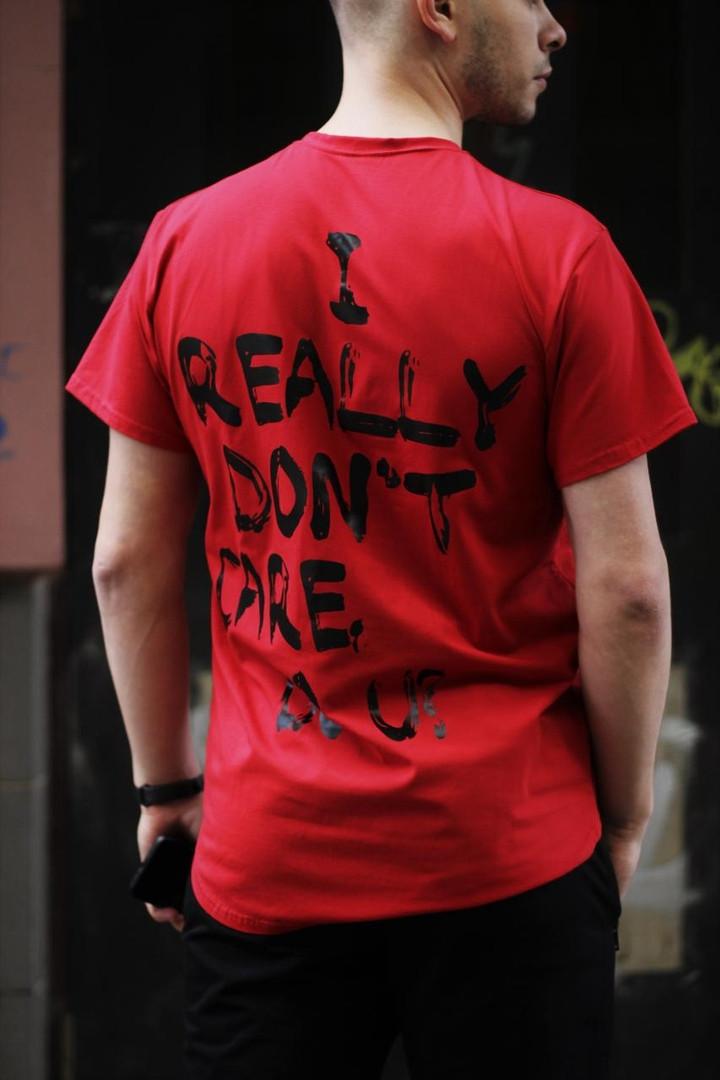 Чоловіча червона повсякденна однотонна футболка