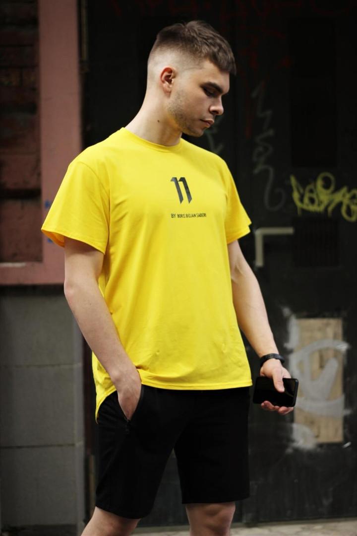 Мужская желтая повседневная однотонная футболка