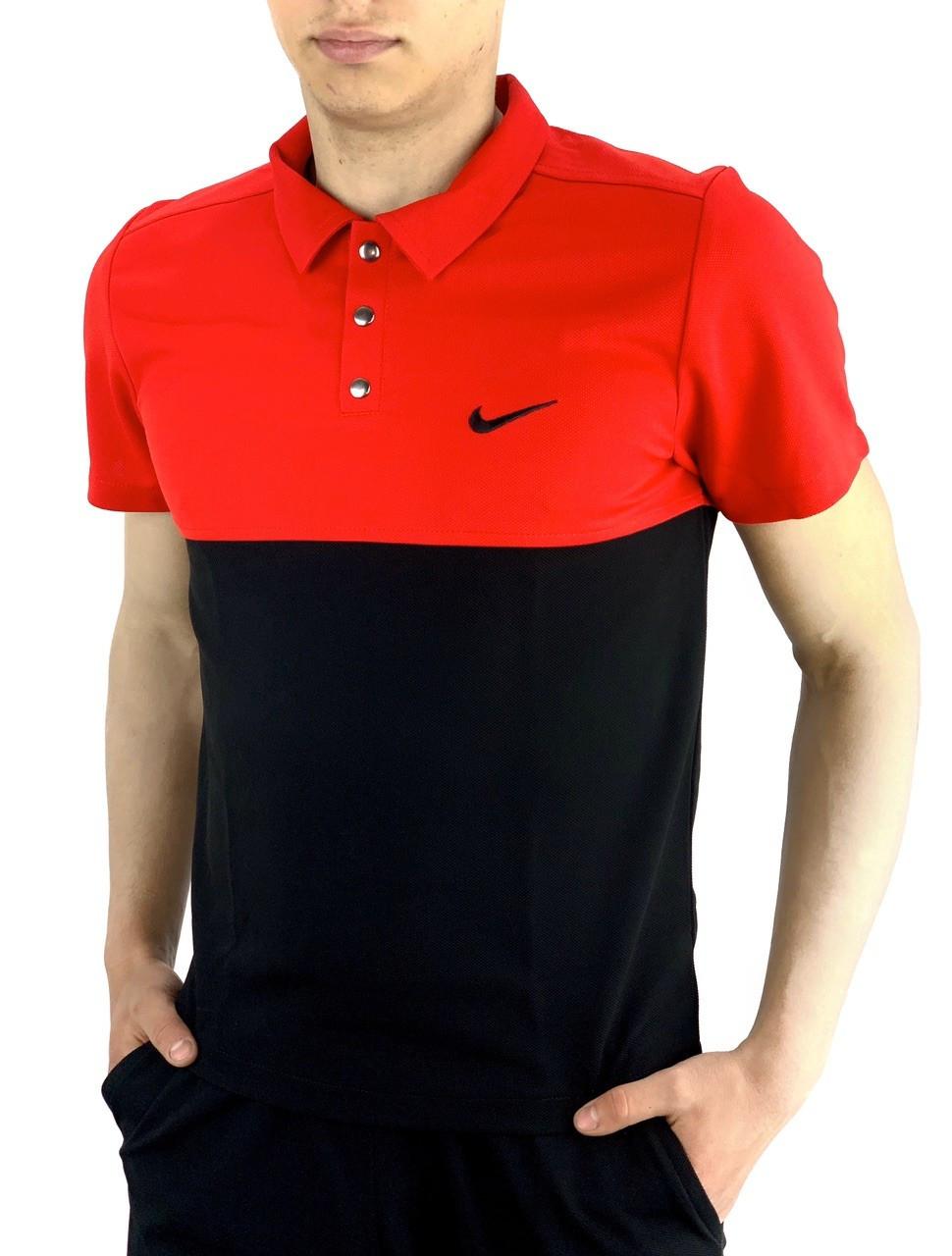 Мужская черно красная повседневная футболка поло Nike