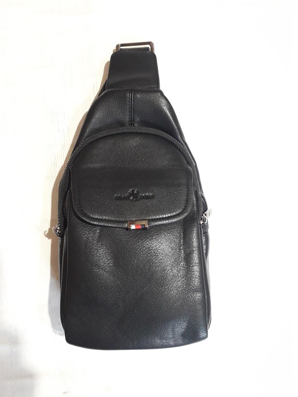 Чоловічий слінг сумка на груди через плече чорна еко шкіра Bradford 8935