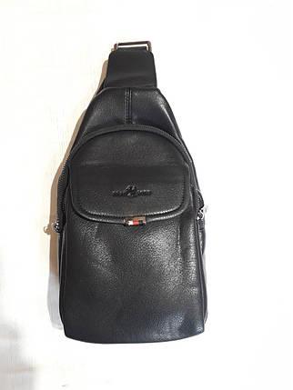Чоловічий слінг сумка на груди через плече чорна еко шкіра Bradford 8935, фото 2