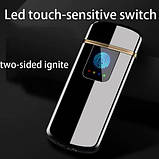 USB электро зажигалка cпиральная сенсорная электрическая с отпечатком пальца Lighter импульсная запальничка, фото 4