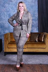 """Трикотажный брючный женский костюм """"KITTS"""" с жакетом (большие размеры)"""