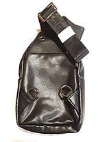 Чоловічий слінг сумка на груди через плече чорна еко шкіра Bradford 8935, фото 3