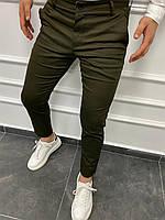 Темно-зелені брюки чоловічі завужені демісезоні однотоні Мужские брюки зауженные цвета хаки классические