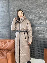 Зимове пальто з еко шкіри №4