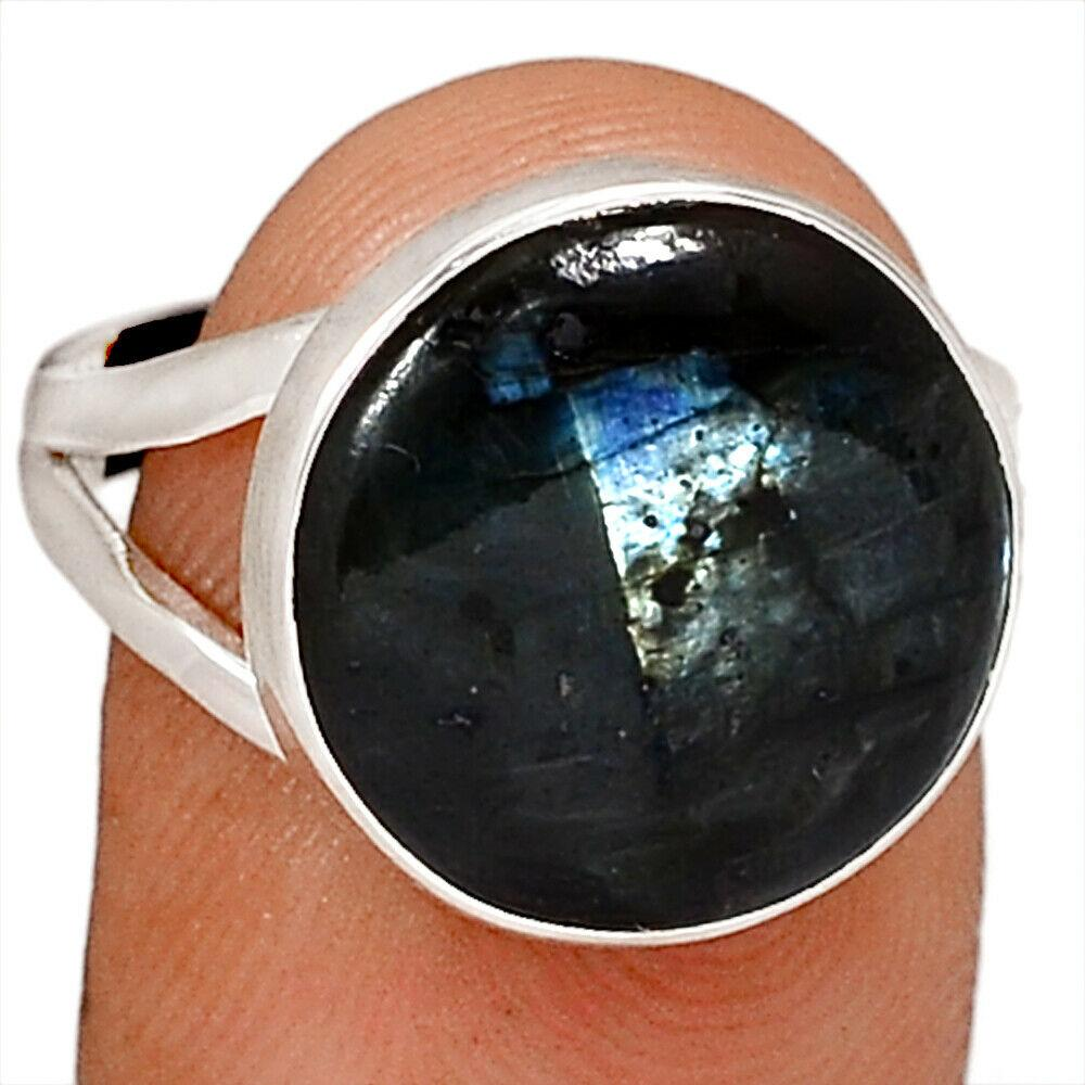 Срібне кільце з ларвикитом чорним місячним каменем, 2652КЦЛ
