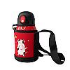 Детский термос-поилка в сумке с чашкой 3 в 1 (красный) 450 ml